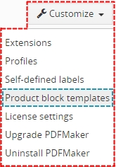 Product block template