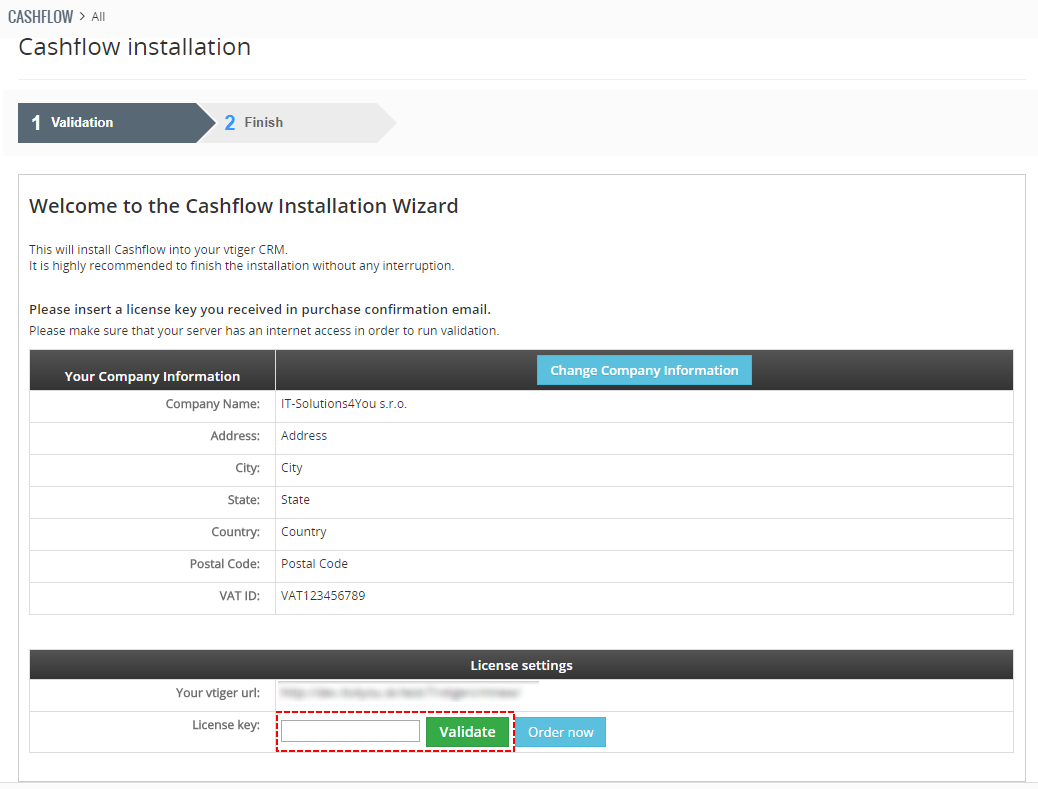 Validation Cashflow for vtiger 7