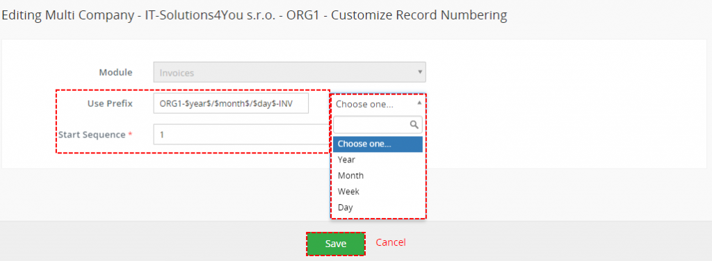 How to set custom numbering