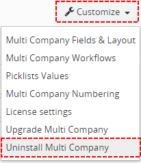 How to uninstall Multi Company
