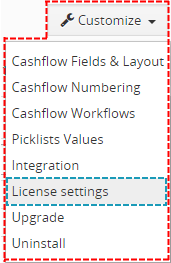 License settings of Cashflow