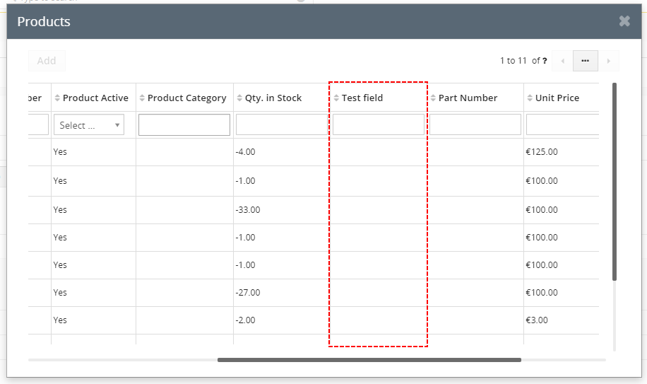 How to add field to Product popup