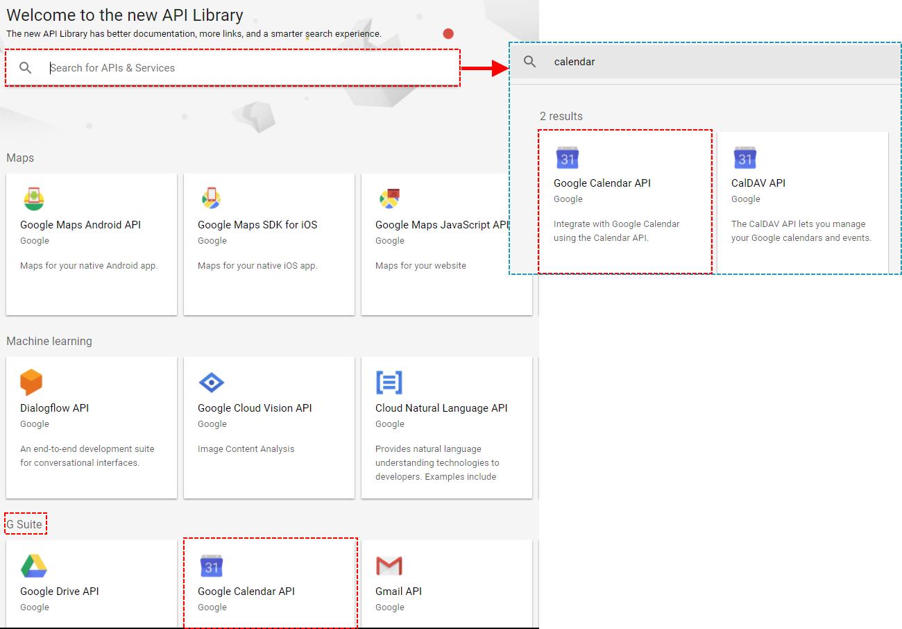 Find API Google Project - Google Calendar Vtiger 6 Sync