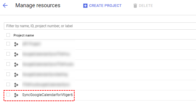 Select Google Project - Google Calendar Vtiger 6 Sync