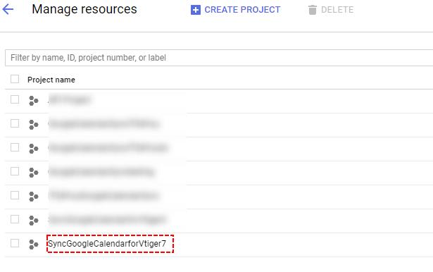 Select Google Project - Google Calendar Vtiger 7 Sync