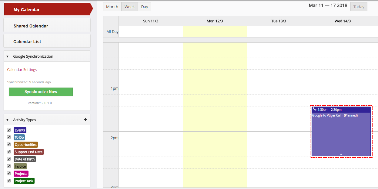 Record from Google within Vtiger - Google Calendar Vtiger 6 Sync