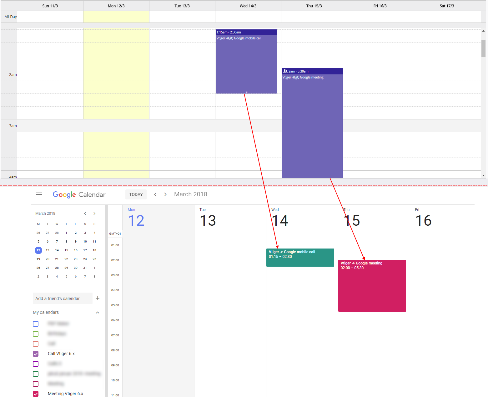 Record synchronized to Google - Google Calendar Vtiger 6 Sync