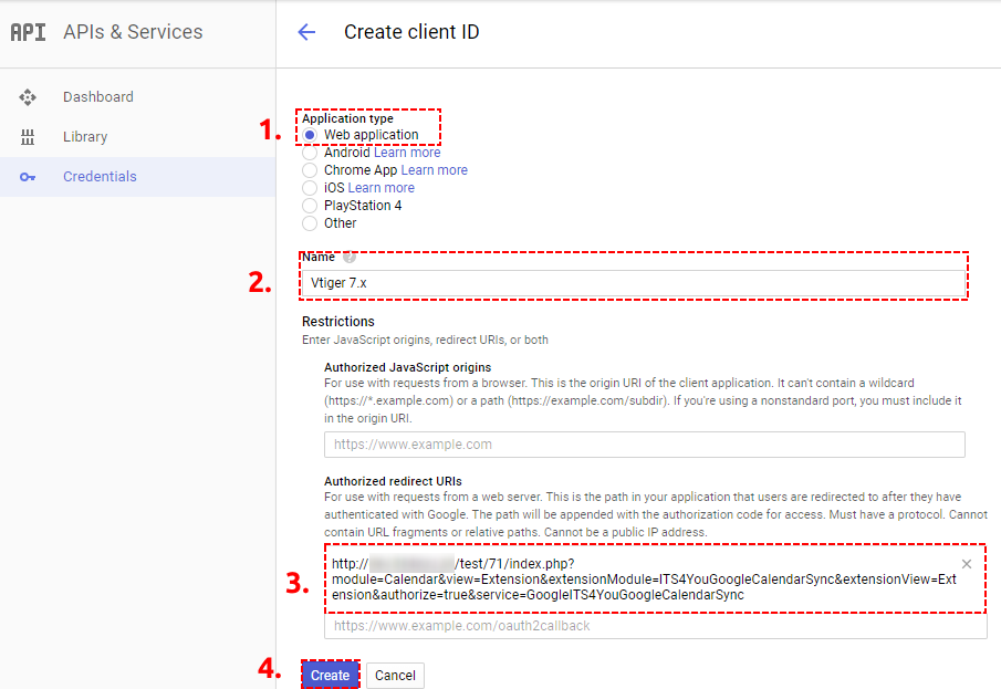 Create ID of Google Project - Google Calendar Vtiger 7 Sync