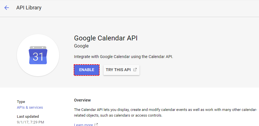 Enable API Google Project - Google Calendar Vtiger 7 Sync
