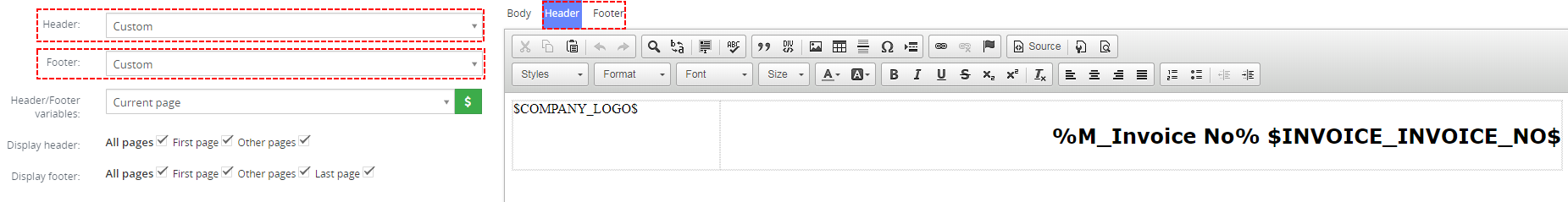 Custom Header/Footer in PDF template – PDF Maker Vtiger 7
