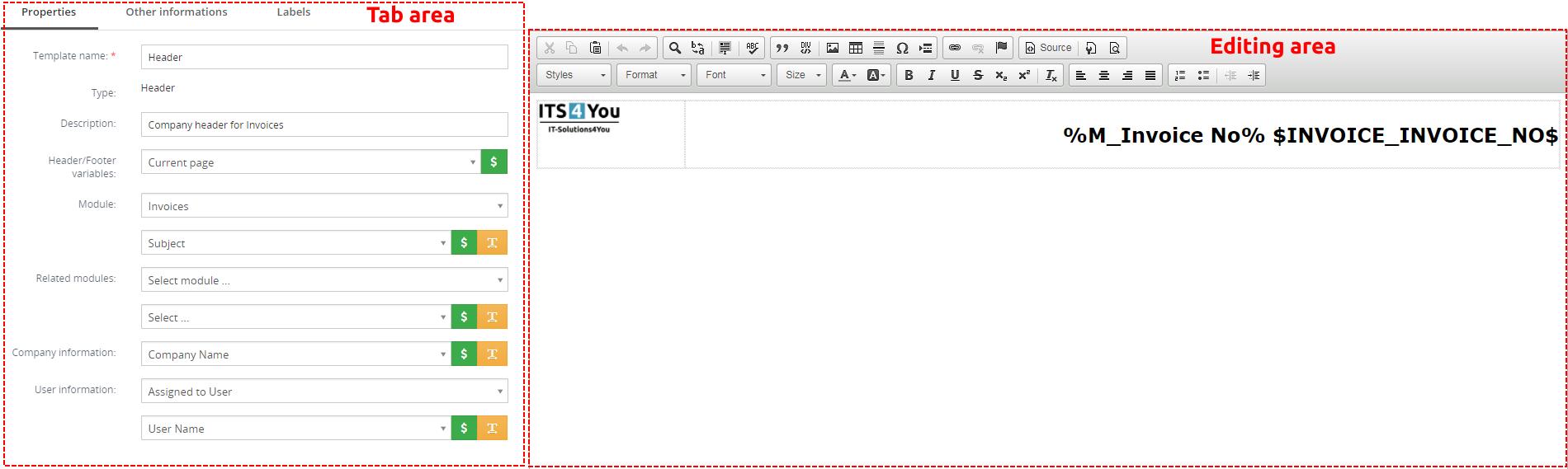 EditView of Header/Footer – PDF Maker Vtiger 7
