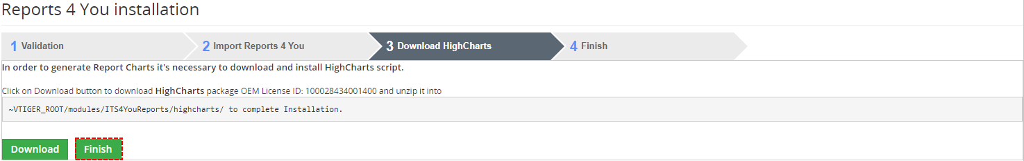 Finish Download HighCharts - Reports 4 You Vtiger 7