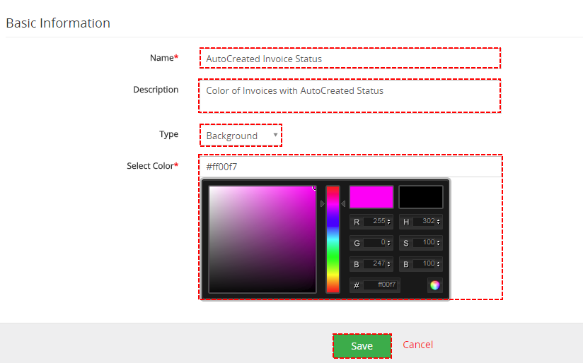 Create new Color - ListView Colors 4 You Vtiger 7