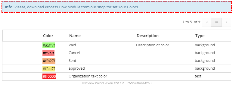 Info message - ListView Colors 4 You Vtiger 7